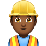 Man Construction Worker Emoji with a Medium-Dark Skin Tone, Apple style