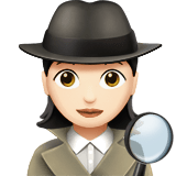 Woman Detective Emoji with a Light Skin Tone, Apple style