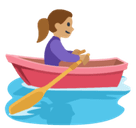 Woman Rowing Boat Emoji with Medium Skin Tone, Facebook style
