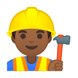 Construction Worker Emoji with a Medium-Dark Skin Tone, Google style