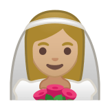 Bride with Veil Emoji with Medium-Light Skin Tone, Google style