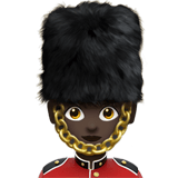 Woman Guard Emoji with a Dark Skin Tone, Apple style