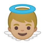 Baby Angel Emoji with a Medium-Light Skin Tone, Google style