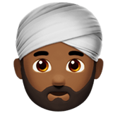 Person Wearing Turban Emoji with a Medium-Dark Skin Tone, Apple style