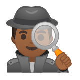 Detective Emoji with a Medium-Dark Skin Tone, Google style