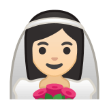 Bride with Veil Emoji with Light Skin Tone, Google style