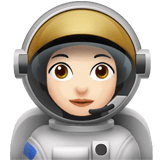 Woman Astronaut Emoji with a Light Skin Tone, Apple style