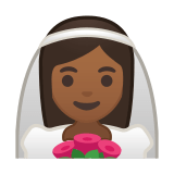 Bride with Veil Emoji with Medium-Dark Skin Tone, Google style