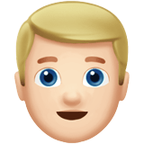 Blond-Haired Man Emoji with a Light Skin Tone, Apple style