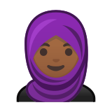 Woman with Headscarf Emoji with Medium-Dark Skin Tone, Google style