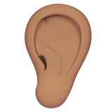 Ear Emoji with a Medium Skin Tone, Apple style