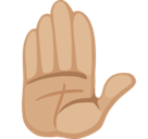 Raised Hand Emoji with a Medium-Light Skin Tone, Facebook style
