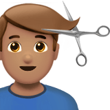 Man Getting Haircut Emoji with a Medium Skin Tone, Apple style