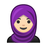 Woman with Headscarf Emoji with Light Skin Tone, Google style