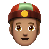 Man with Chinese Cap Emoji with a Medium Skin Tone, Apple style