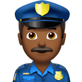 Man Police Officer Emoji with Medium-Dark Skin Tone, Apple style