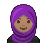 Woman with Headscarf Emoji with Medium Skin Tone, Google style