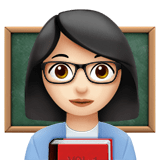 Woman Teacher Emoji with Light Skin Tone, Apple style