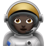 Woman Astronaut Emoji with Dark Skin Tone, Apple style