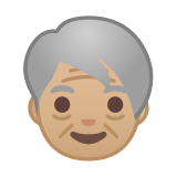 Older Person Emoji with Medium-Light Skin Tone, Google style