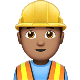 Man Construction Worker Emoji with Medium Skin Tone, Apple style