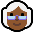 Old Woman Emoji with Medium-Dark Skin Tone, Microsoft style