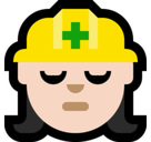Woman Construction Worker Emoji with Light Skin Tone, Microsoft style
