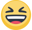 Smiling Face with Open Mouth & Closed Eyes Emoji, Facebook style