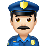 Man Police Officer Emoji with a Light Skin Tone, Apple style