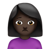 Woman Frowning Emoji with a Dark Skin Tone, Apple style