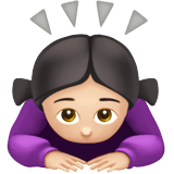 Woman Bowing Emoji with Light Skin Tone, Apple style