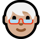 Older Person Emoji with Medium-Light Skin Tone, Microsoft style