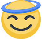 Smiling Face With Halo Emoji, Facebook style