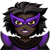 Supervillain Emoji with Dark Skin Tone, Apple style