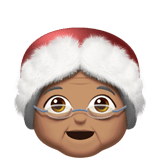 Mrs. Claus Emoji with a Medium Skin Tone, Apple style