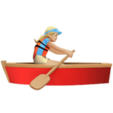 Woman Rowing Boat Emoji with a Medium-Light Skin Tone, Apple style