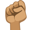 Raised Fist Emoji with a Medium Skin Tone, Facebook style
