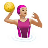 Woman Playing Water Polo Emoji with a Medium-Light Skin Tone, Apple style