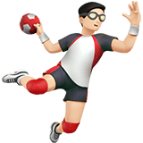 Man Playing Handball Emoji with Light Skin Tone, Apple style