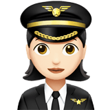 Woman Pilot Emoji with Light Skin Tone, Apple style