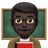 Man Teacher Emoji with Dark Skin Tone, Apple style