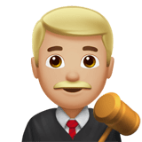 Man Judge Emoji with a Medium-Light Skin Tone, Apple style