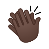 Clapping Hands Emoji with a Dark Skin Tone, Google style