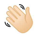 Waving Hand Emoji with a Light Skin Tone, Google style