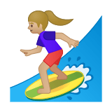 Woman Surfing Emoji with a Medium-Light Skin Tone, Google style
