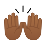 Raising Hands Emoji with a Medium-Dark Skin Tone, Google style