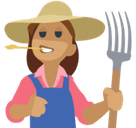 Woman Farmer Emoji with Medium Skin Tone, Facebook style