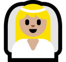 Bride with Veil Emoji with Medium-Light Skin Tone, Microsoft style