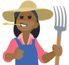 Woman Farmer Emoji with Medium-Dark Skin Tone, Facebook style
