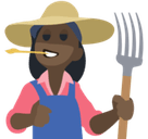 Woman Farmer Emoji with Dark Skin Tone, Facebook style